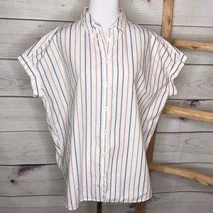 Madewell Central Saddie Multi Striped Button Up